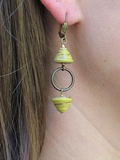 Chartreuse Green All Wound Up Drop Earrings - Green Handmade Paper Beads with…