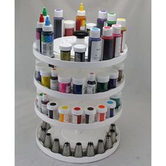 Cake Decorating Carousel Organizer holds all your paste colors, airbrush supplies, tips, sprinkles, dragees and more! Keep everything within reach and easy to locate while you decorate cakes! Cake Supplies, Cake Decorating Supplies, Cake Decorating Techniques, Baking Supplies, Cookie Decorating, Baking Tools, Baking Gadgets, Baking Storage, Sweets