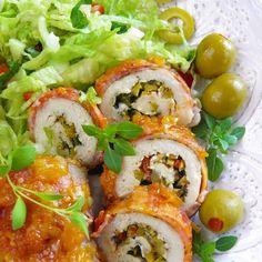 Roladki z kurczaka z oliwkami hiszpańskimi i ziołami