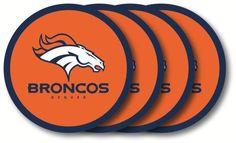 DENVER BRONCOS 4 PACK VINYL COASTER SET FROM DUCKHOUSE SPORTS #DuckhouseSports #DenverBroncos