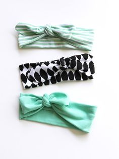 Little Hip Squeaks Baby Headbands in Mint and Black - adorable!