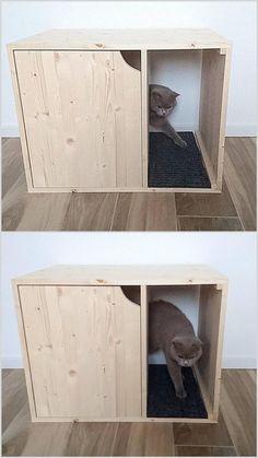 Litter Box Covers, Gato Gif, Cat Toilet, Wood Cat, Pet Furniture, Wooden Furniture, Furniture Plans, Modular Furniture, Refurbished Furniture