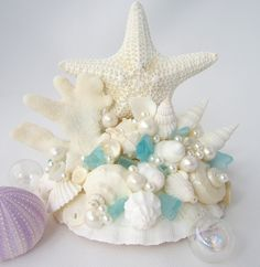 Beach Wedding Starfish Cake Topper Wedding by beachgrasscottage. They say cake topper, I say accent piece.