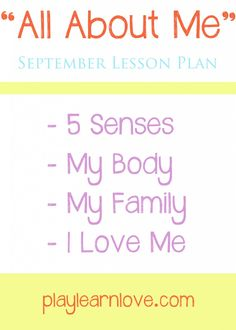 'All About Me' Lesson Plans: Preschool and Toddler Learning Activities for September