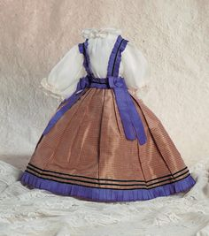 Lady Dolls of the 19th Century: 71 Brown and Purple Silk Costume With Ribboned Suspen