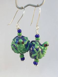 Tree Frog Earring, Green Tree Frog, Lampwork Frog, Dangle and Drop, Green Frog on Blue Bead, 3 D Eff