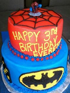 Superhero Birthday Cake #Spiderman #Batman    www.facebook.com/Bobbicakes