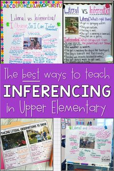Teaching upper elementary students how to make an inference is an important language arts lesson. During back to school, I teach my third, fourth, and fifth grade ELA students the difference between literal and inferential observations using picture clues to help make inferencing lessons easy. These literacy anchor charts are some of my favorites! 6th Grade Activities, Inference Activities, Teaching 5th Grade, 6th Grade Ela, 4th Grade Reading, Teaching Reading, Reading Lessons, Fourth Grade, Third Grade