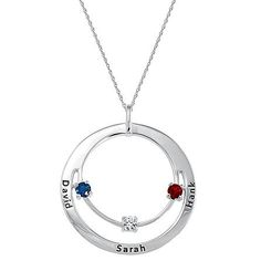 Gift Idea For Women`s  Family Circle of Love Birthstone Necklace   The circle of family can never be broken; honor that bond with this meaningful pendant adorned with simulated birthstones.