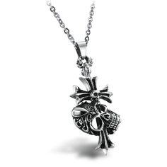 Skull Cross Men's Steel Pendants Necklace for Boyfriend on Valentine's Day from Yoyoon.com