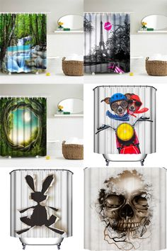 [Visit to Buy] Polyester Fabric Fall Bathroom Shower Curtains Waterfalls Nature Scenery Curtain Waterproof Shower Curtain with 12 Hooks #Advertisement