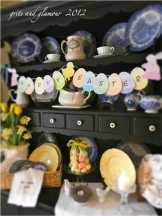 Simple Easter decor ideas that use paint chips. Great ideas!