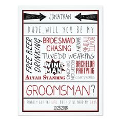 Dude, Will you be my Groomsman? Red/Black Collage Card