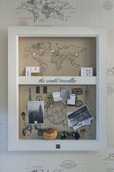 Inspiration: the world traveler geschenke декор комнаты, первый дом и домаш Rivera Maison, Living In Europe, Wall Decor, Room Decor, Travel Wall, Travel Box, Travel Shadow Boxes, Travel Memories, Inspired Homes