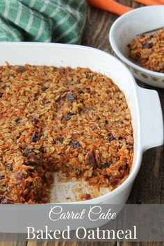 xylitol for the sugar, and omit the raisins and syrup) This Healthy Carrot Cake Baked Oatmeal is a great way to get your breakfast veggies! You can freeze this in individual portions for an easy, hearty breakfast every morning. Serve with a Phase 3 fruit. Healthy Breakfast Recipes, Healthy Recipes, Brunch Recipes, Healthy Brunch, Vegan Breakfast, Baked Oatmeal Recipes, Healthy Carrot Cakes, Metabolic Diet, Weight Watchers Meals