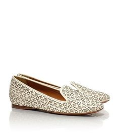 RARE Tory Burch Maura laser-cut patent-leather and canvas loafers Logo Design.    eBay