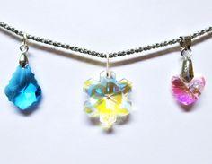 Signed Swarovski Silver Tone Chain 3 Crystal Pendants Snowflake Heart Pink Blue