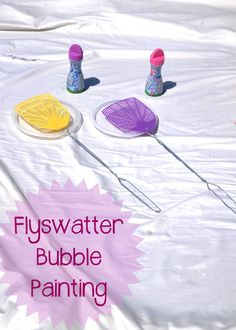 messy fly swatter Crayola colored bubble painting | play learn love