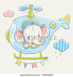 Cute little elephant on a helicopter cartoon hand drawn vector illustration. Can be used for baby t-shirt print, fashion print design, kids wear, baby shower celebration greeting and invitation card.