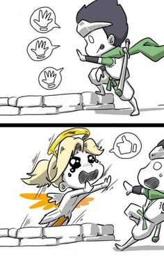 This is what everyone needs to be aware of when they have a mercy on the team. I played TDM on Petra, and I got knocked off the map three times. My team was too focused on the enemy that they forget to protect their healer. And it really pissed me off. Overwatch Dragons, Overwatch Genji, Overwatch Fan Art, Overwatch Funny Comic, Overwatch Memes, Overwatch Community, Cute Comics, Game Art, Spider Man