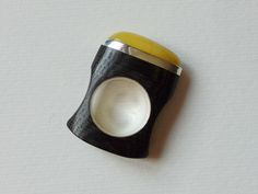 Bog-wood and sterling silver ring with Baltic amber Design&Handmade in Poland by bizutheria