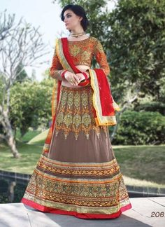 Red And Grey Embroidery Work Pure Silk With Net Embroidery Lehenga Choli