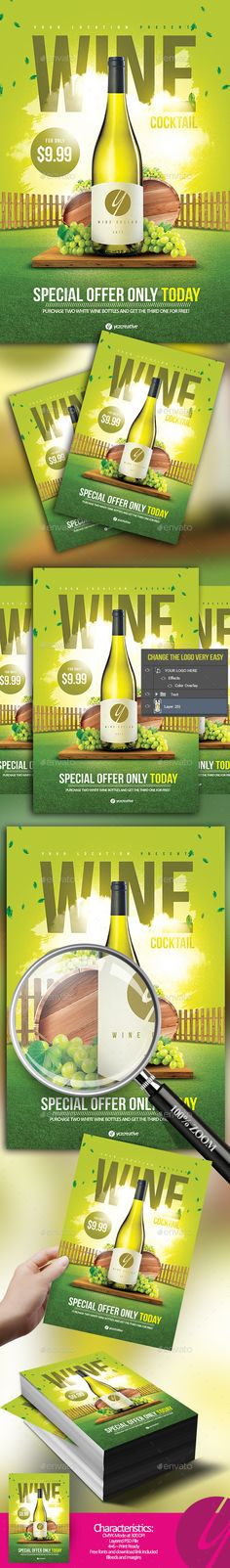 White Wine Cocktail Flyer — Photoshop PSD #wine flyer #cocktail • Download ➝ https://graphicriver.net/item/white-wine-cocktail-flyer/20026724?ref=pxcr