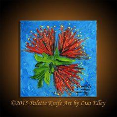 Palette Knife Painting, Pohutukawa, Modern Art Landscape, Original Oil, Textured Souvenir, New Zealand Trees. Artwork by Lisa Elley  T I T L E: Little Pohutukawa  I N S P I R E D* B Y: My love of the indigenous New Zealand Christmas Tree, the Pohutukawa.  Y E A R: 2014  G O E S*G R E A T*W I T H https://www.etsy.com/nz/listing/166819389/palette-knife-painting-modern-art  S I Z E: 6 X 6 X 1.5 Inches. Please note this is a small painting. No brushwork, 100% palette knife  M A T E R I A L S…