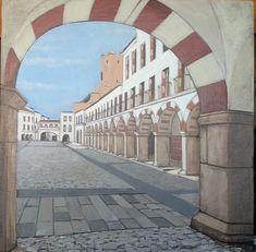 Badajoz pintura Plans, Sidewalk, Pintura, Etchings, Drawings, Painted Canvas, Side Walkway, Walkway, Walkways