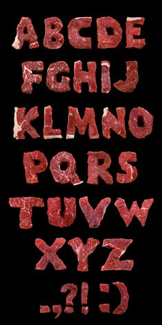 I think the concept of a meat font is a little obvious, but the execution is brilliant. Art Director Maria Plotnikova via: http://devidsketchbook.com