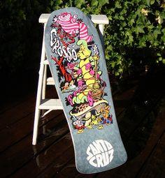 Alice in Wonderland Skateboard Jeff Grosso Jimbo Phillips Santa Cruz 1989 - this was my favorite ramp board, but mine was red. Still have it...