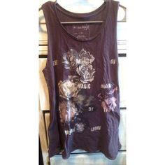 Free People We The Free Muscle Tee Worn once, rose graphic on front. Deep purple color, size xs. Free People Tops Muscle Tees