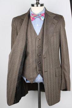 Vintage 3 PC Light Brown Modest Striped Wool 38 L mens Suit Pants Vest #ScottThomas #TwoButton