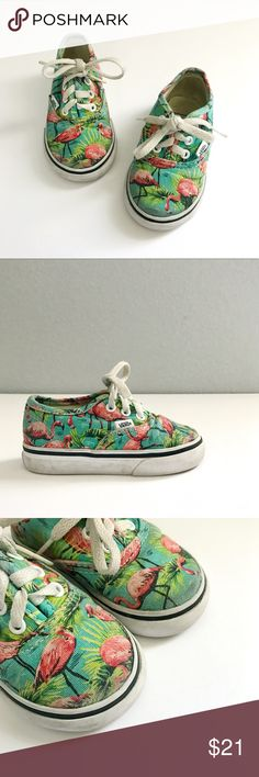 "Kids Vans Flamingo Tropic Kids Toddler size 5. Measures 5.25"". Teal, green, pink multicolor flamingo and palm leaves trivial print. Good used condition. Slight fading at the front. No holes. Normal wear marks and some creasing. Please refer to all photos for more details and ask any questions prior to purchasing. // ••• Sign up on my Updates List to be notified on new listings and get social with us on Instagram @dasrozo for my kids everyday style posts Vans Shoes Sneakers"