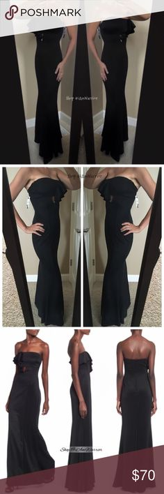 Ruffle long black NWT strapless dress 😍NWT gorgeous black matte poly knit spandex body hugging strapless gown w/ sexy ruffle & keyhole detail w/ slight mermaid fit. Straight solid back, fully lined. USA made. Juniors size 9 (fits ladies 6-8). Larger busted ladies should size up due to strapless style. Please read my bio for pricing/policies. Please read my bio regarding closet policies prior to any inquiries. Dresses Maxi