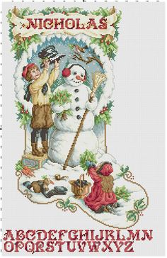 Victorian Christmas Stocking Counted Cross Stitch Pattern