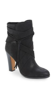 Free shipping and returns on Vince Camuto 'Charisa' Bootie (Women) at Nordstrom.com. Wrapped leather straps enhance the boho-chic look of a distressed leather boot perfectly complemented by a bit of fringe.