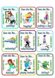 Go fish - Does (s)he like . - English ESL Worksheets for distance learning and physical classrooms Esl Lessons, English Lessons, Learn English Words, English Study, English Activities, Preschool Activities, English Grammar Games, English Language, Fishing Games For Kids