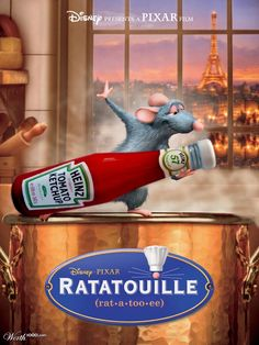 Ratatouille - Disney - One of my favorite Disney Pixar movies. My sister and I both love this movie because it brings back memories of our college Paris trips for us. Disney Pixar, Film Disney, Disney Animation, Animation Movies, Ratatouille Disney, Ratatouille 2007, Film Pixar, Pixar Movies, Cartoon Movies