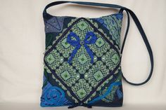 Green blue crocheted lace bag large size bag by bokrisztina