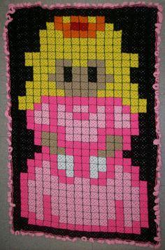 Princess Peach Granny Square Blanket by *BardicKitty on deviantART pixel crochet Pixel Crochet Blanket, Crochet Quilt, C2c Crochet, Crochet Crafts, Crochet Projects, Crochet Baby, Crochet Geek, Crochet Blankets, Granny Square Häkelanleitung