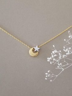 Moon and Star Necklace, Celestial jewelry, Crescent Moon and Star In Mixed Tone, Two Tone Necklace, Gift for Her Dainty Necklace Silver, Gold Necklace Simple, Dainty Jewelry, Cute Jewelry, Moon Jewelry, Star Jewelry, Stacked Necklaces, Accesorios Casual, Bridesmaid Bracelet