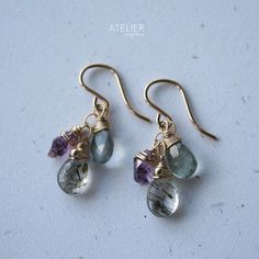 Rutilated quartz, amethyst point & moss aquamarine earrings by ATELIER Gaby Marcos
