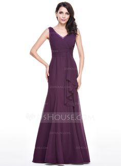 483c13e99abd1 ... V-neck Floor-Length Lace Cascading Ruffles Zipper Up Regular Straps  Sleeveless No Grape Spring Summer Fall General Plus Chiffon Evening Dress