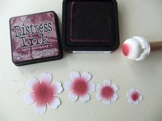 From My Craft Room: Wrinkled Flower Coloured With Distress Ink Tutorial make dabber by wrapping a makeup sponge around a piece of dowel and tied it in place with a string Card Making Tips, Card Making Tutorials, Card Making Techniques, Making Ideas, Fabric Flowers, Paper Flowers, Distress Ink Techniques, Zealand Tattoo, Tampons
