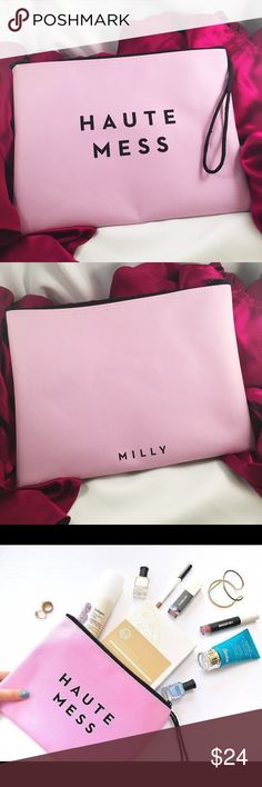 """MILLY """"Haute Mess"""" Swimsuit Pouch New. Water resistant. Great to keep wet swimsuits away from other items in your bag or makes a great travel bag for cosmetics. 10.5"""" x 8"""". Minor manufacturing defect on nylon handle with a couple of frays - see photo. Milly Bags Cosmetic Bags & Cases"""