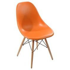PLASTIC CHAIR IN ORANGE COLOR WITH WOODEN LEGS 46X44X80