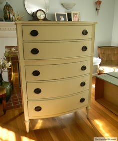 Bow Front Vintage Dresser - we have this in white. This same chest sits in our entry foyer. It is painted white with a large round ornate mirror over it, some books, a white Buddah head and large white orchid on it. Everyone who enters comments on it.