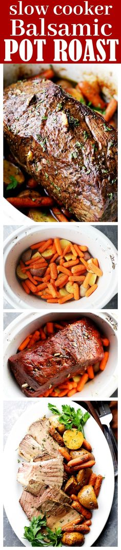 Slow Cooker Balsamic Pot Roast - Melt in your mouth, tender Balsamic Pot Roast prepared in the slow cooker with potatoes and carrots! Crock Pot Food, Crockpot Dishes, Crock Pot Slow Cooker, Beef Dishes, Slow Cooker Recipes, Food Dishes, Beef Recipes, Cooking Recipes, Meat Recipes