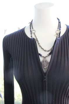 Paletti Boutique SLC  #layeredjewelry #layerednecklace #necklace #longsleeve #zipperfront #stripes #sweater #sweaterweather #fashion #style #womensfashion #fallfashion #winterfashion #chic #modern #edgy #classic #advancedstyle